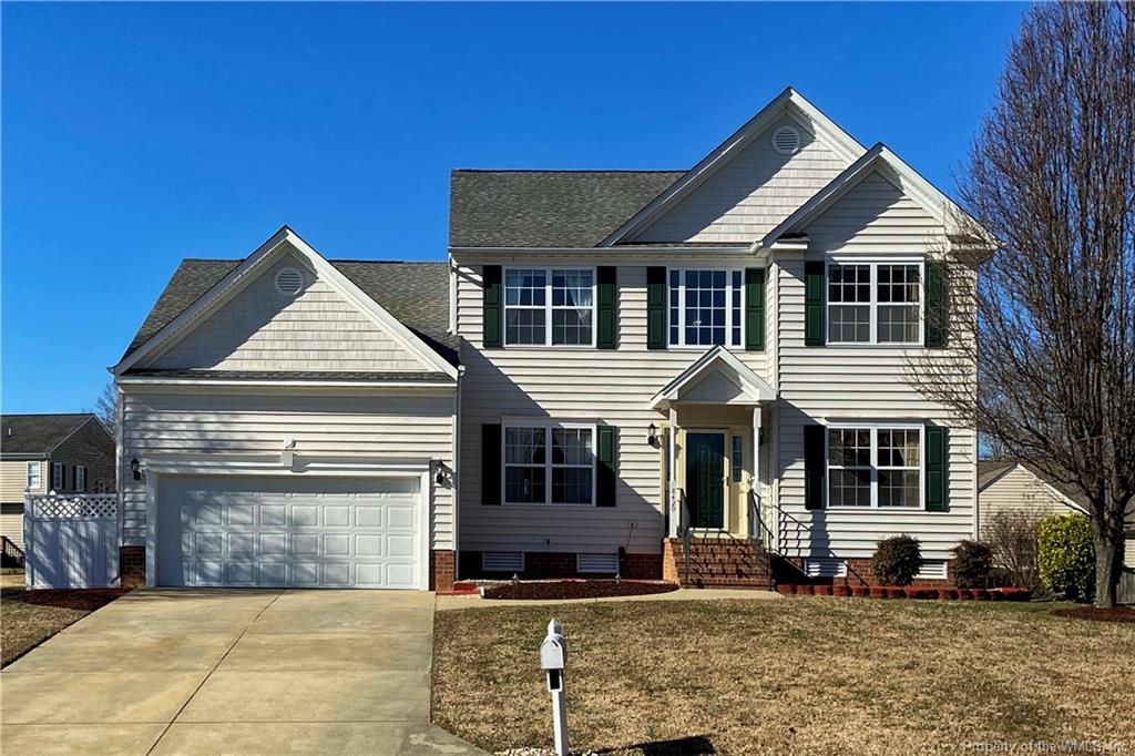 Absolutely beautiful open floor plan with a spacious first floor master. Fresh paint and many updates. White kitchen opens to vaulted family room with gas fireplace and a wall of windows- the kitchen has an electric range but the space also has a gas line if you prefer to switch out to gas cooking, and there is a nice new kitchen sink and microwave! There is a formal living room and dining room on the main floor as well as a laundry room. Second story has 3 additional generously sized bedrooms and full bath. Large level back yard with deck and gas line for grilling out. Surround sound speakers and wall mounts for your TVs convey! Seller is providing a one year home warranty to the new owner.