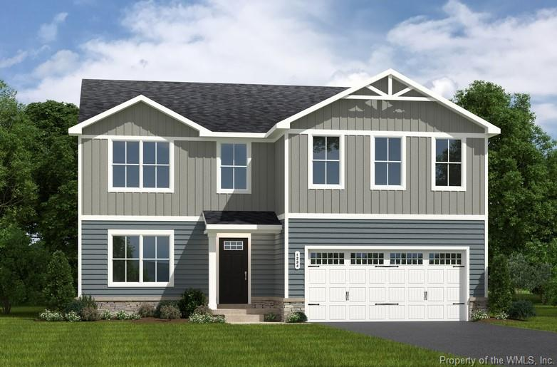 Proposed construction. Brand new single family home in James City County with garage! The first floor is an innovative L-shape that allows for open design without sacrificing functionality. A large coat closet and powder room are conveniently placed off the foyer. The great room and flex room are open plan but divide easily into separate living areas for multiple functionality. You can have a formal dining area, a study, a playroom – whatever your family needs. The dinette flows into a large and well-appointed kitchen that boasts an eat-at island. A second family coat closet off the garage is across from a nook perfect for an arrival center. Upstairs 5 bedrooms provides all the room you need – or make the 5th bedroom a loft. The owner's bedroom boasts an en suite bath that features a double bowl vanity with an oversized shower. An ample hall bath, linen closet and laundry complete the upper level.  Forest Glen Trace in JCC offers new construction, 3-5 bedroom homes with garages and all appliances included with every home! This Elm floor plan is BuiltSmart Certified!