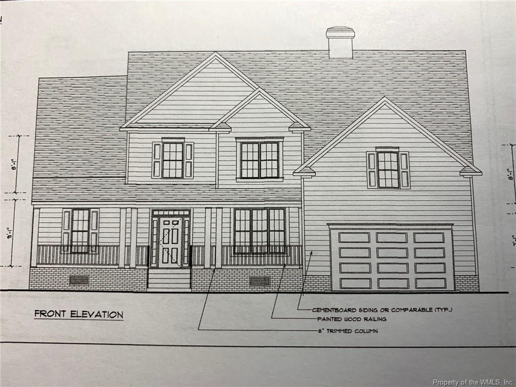 Amazing Proposed Construction home on 7.64 Acres in Riverview Plantation of Williamsburg! The home has a master bedroom and additional office or bedroom on the first floor. The huge family room is open to the kitchen and leads to a screened porch overlooking woods all around you! This parcel can be subdivided for multiple homes or can be your acreage paradise close to the York River and Williamsburg! Access to York River, Lake Norvalia, Playgrounds and community docks with voluntary HOA membership!
