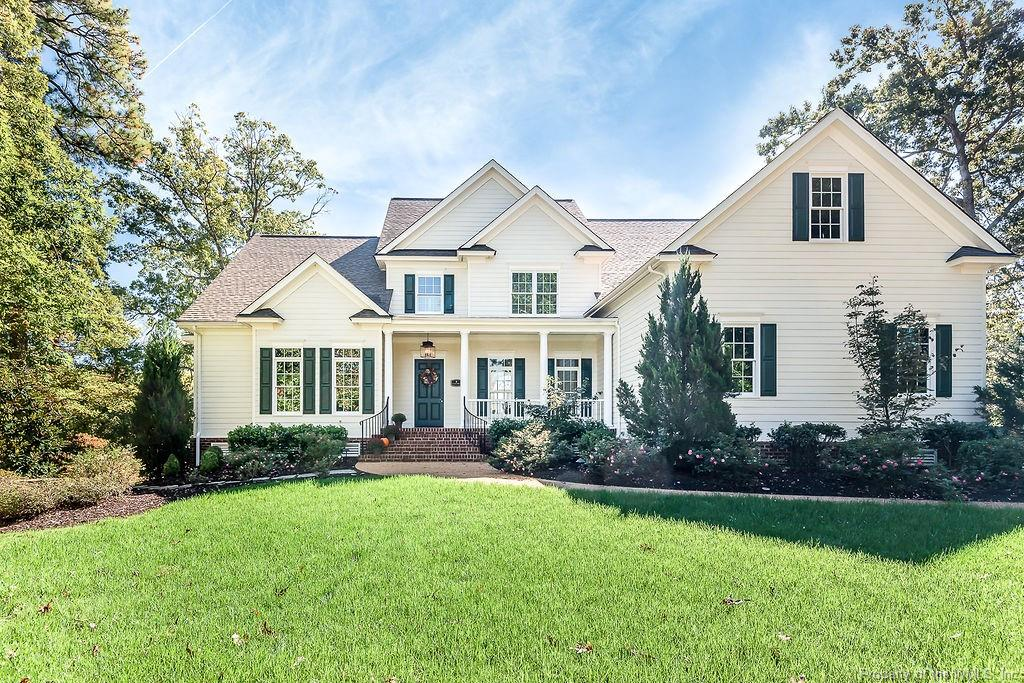 Beautifully situated on a hill overlooking a large pond & the 8th green of the Marsh Hawk course. 115 St. Andrew's Dr. is grand yet not pretentious. It is a true custom home with over $1.4 million invested in the many details from the beautiful mill work to the pot filler in the gourmet kitchen to the hidden door leading from the study to the master closet. The floor plan offers great one level living with both open & defined spaces. It is an amazing home for entertaining with a huge kitchen open to the breakfast area & family room leading to the raised patio & screened porch w/a gorgeous stone fireplace. The raised patio is set up for a swimming pool if desired. Two more fireplaces inside make this special home feel even cozier. All bedrooms are en-suite giving family & friends their own private space. The mature landscaping is easy to maintain with an well & irrigation system.