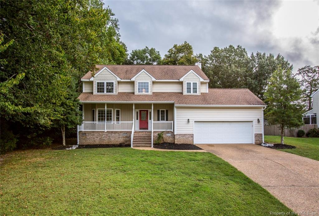 This lovely 5 bedroom 2.5 bathroom home in sought-after Powhatan Crossing offers 2,052 square feet. The expansive eat-in kitchen offers generous cabinet space, custom countertops, a pantry, and a large island that opens to the living room, making it perfect for entertaining. Each bedroom features ample closet space, while the owner's suite boasts a bright and light window seat area, two full closets, and a spacious ensuite with double sinks, jetted tub, and a separate shower. The additional full bathroom, half bathroom, and laundry room have been recently remodeled to add charm to this family home. Exterior features include new low-maintenance professional landscaping, a large composite deck with vinyl railing, and a spacious backyard. Approximately 5 yrs new dual, energy-efficient HVAC systems, leaf guard gutters, and vinyl double pane windows. Conveniently located near biking paths, shopping, and I-64.